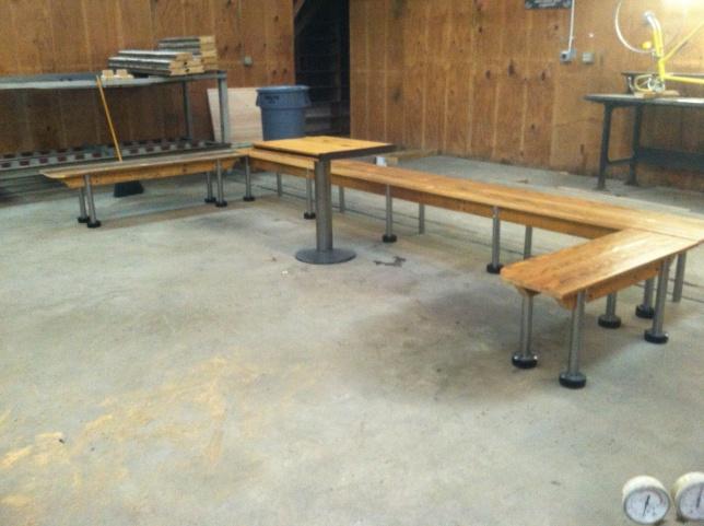 wooden bench steel legs